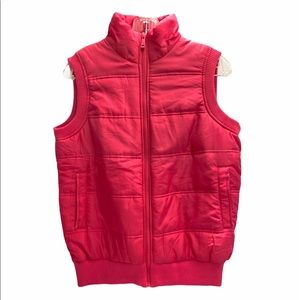 YOUNG USA Pink Zip-Up Puffer Vest Lined NWT